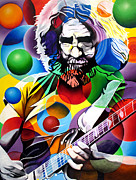 Guitar Painting Framed Prints - Jerry Garcia in Bubbles Framed Print by Joshua Morton