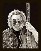 Pen And Ink Art Drawings Framed Prints - Jerry Garcia Framed Print by Jack Pumphrey