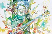 Grateful Dead Framed Prints - JERRY GARCIA PLAYING the GUITAR watercolor portrait.1 Framed Print by Fabrizio Cassetta