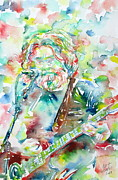 Guitar Player Prints - JERRY GARCIA PLAYING the GUITAR watercolor portrait.2 Print by Fabrizio Cassetta