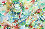 Jerry Prints - JERRY GARCIA PLAYING the GUITAR watercolor portrait.3 Print by Fabrizio Cassetta