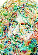 Smiling Painting Prints - JERRY GARCIA watercolor portrait.1 Print by Fabrizio Cassetta