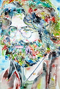 Grateful Posters - JERRY GARCIA watercolor portrait.2 Poster by Fabrizio Cassetta