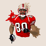 Nfl Digital Art Framed Prints - Jerry Rice Digital Art Framed Print by Sanely Great