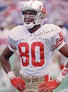 Hall Of Fame Metal Prints - Jerry Rice Signed Portrait Metal Print by Sanely Great