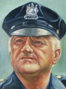 Law Enforcement Paintings - Jersey City Policeman by Melinda Saminski