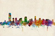 Featured Digital Art Metal Prints - Jersey City Skyline Metal Print by Michael Tompsett