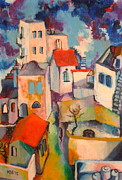 Jerusalem Painting Metal Prints - Jerusalem AbuTor Metal Print by Moshe BenReuven