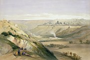 Holy Land Framed Prints - Jerusalem April 5th 1839 Framed Print by David Roberts