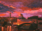 Jerusalem Painting Originals - Jerusalem at Sunset by M Bleichner
