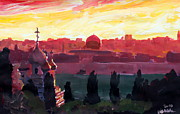 Jerusalem Painting Metal Prints - Jerusalem - Eternal City with Golden Sky Metal Print by M Bleichner