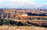 Jerusalem Metal Prints - Jerusalem from Mount Olive Metal Print by Thomas R Fletcher