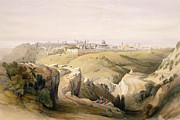 Jerusalem Painting Posters - Jerusalem from the Mount of Olives Poster by David Roberts