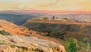 Landscape At Sunset Framed Prints - Jerusalem from the Mount of Olives Framed Print by Edward Lear