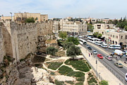 Green Walls Prints - Jerusalem Old City Wall Print by Munir Alawi