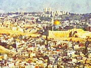 Mediterranean Landscape Digital Art Posters - Jerusalem Sunrise Poster by Digital Photographic Arts