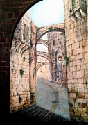 Streets Drawings Originals - Jerusalim streets by Samir Saqallah