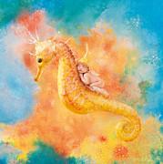 Jessabella Riding A Seahorse Print by Anne Geddes