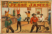 Handbill Framed Prints - Jesse James Spectacular Production Poster Framed Print by Unknown