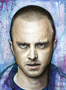 Canvas Mixed Media Metal Prints - Jesse Pinkman - Breaking Bad Metal Print by Olga Shvartsur
