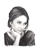 Jessica Alba Drawings Originals - Jessica Alba by Rosalinda Markle