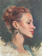 Red Lips Painting Originals - Jessie in Profile by Anna Bain