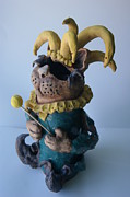 Statue Ceramics - Jester cat by Susan  Brown  Slizys artist name