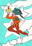 Candle Painting Originals - Jester With Cake by Genevieve Esson