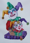 Mardi Gras Paintings - Jesters on Bourbon Street  by Rhonda Leonard