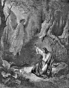 Angel Drawings - Jesus and Angel Bible Illustration by Gustave Dore