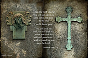 Religious Prints Photos - Jesus and Cross - Inspirational - Bible Scripture by Kathy Fornal