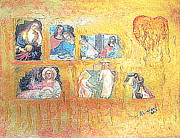 Last Supper Mixed Media Posters - Jesus and Mary Magdalene Broken Heart Golden Tears 1 Poster by Richard W Linford