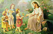 Little Girls Digital Art - Jesus And The Little Children by Unknown