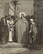 Bible Drawings Metal Prints - Jesus and the Tribute Money Metal Print by Antique Engravings
