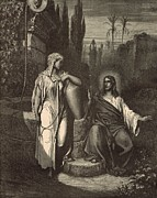 Bible Drawings Prints - Jesus and the Woman of Samaria Print by Antique Engravings