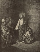 Bible Drawings Prints - Jesus and the Woman Taken into Adultery Print by Antique Engravings