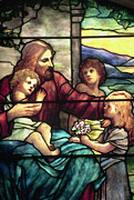 Jesus Photo Prints - Jesus Blessing The Children in stained glass Print by Philip Ralley