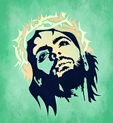 Geek Painting Posters - Jesus Christ 2 Poster by Mark Ashkenazi