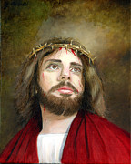 Religious Artist Painting Framed Prints - Jesus Christ Crown of Thorns Framed Print by Cecilia  Brendel
