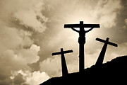 Backlit Prints - Jesus Christ crucified in Golgotha Print by Jose Elias - Sofia Pereira