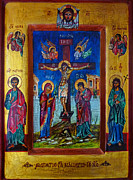 Jesus Christ Icon Painting Posters - Jesus Christ Crucifixion Icon Poster by Ryszard Sleczka