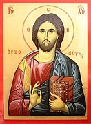 Russian Orthodox Painting Originals - Jesus christ Icon by Marian Moncea