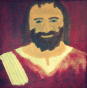 Smiling Jesus Painting Posters - Jesus Christ Smiling 1 Poster by Richard W Linford