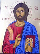 Byzantine Icon Prints - Jesus Christ The Pantocrator Print by Athanasios Skouras