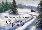Winter Scene Pastels Metal Prints - Jesus Christmas Metal Print by Susan Jenkins