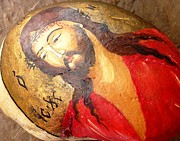 Isus Prints - Jesus Christ_Painting on Stone Print by Amalia Suruceanu Art
