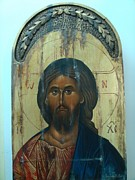 Byzantine Painting Originals - Jesus Crist Byzantine Icon by Lefteris Skaliotis