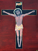 Sacred Art Paintings - Jesus Crucified  by Danielle Tayabas