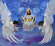 Jesus Artwork Digital Art Posters - Jesus enthroned Poster by Tamer Elsharouni