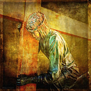 Sculptures Digital Art Posters - Jesus Falls Via Dolorosa 3 Poster by Lianne Schneider